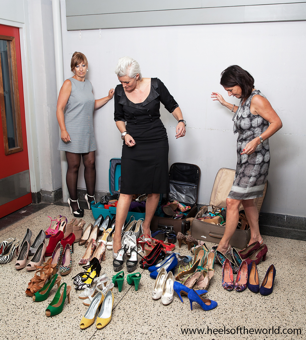 Photoshoot with 100 pair of shoes at prison in Rotterdam (The Netherlands / Holland). For website www.heelsoftheworld.com