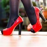 Passion for red peeptoe pumps
