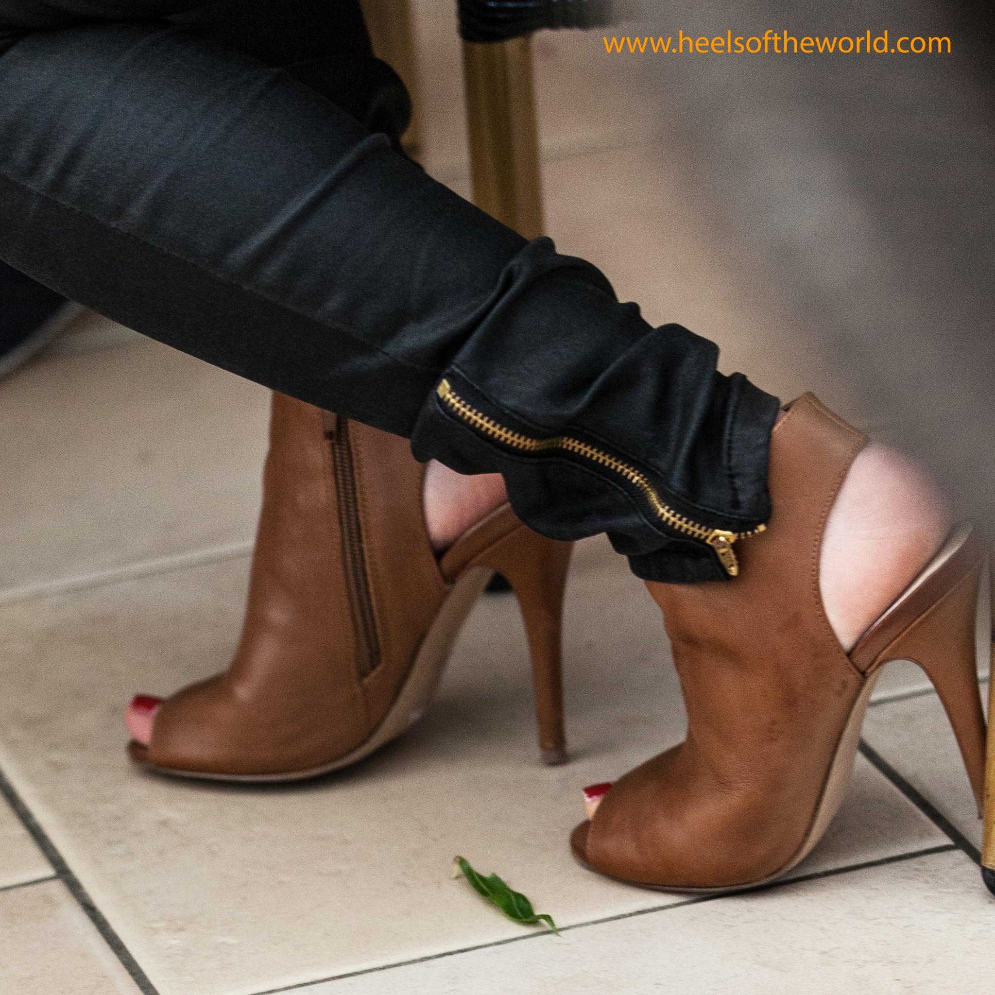 Dutch heels. Brown peep toe booties.